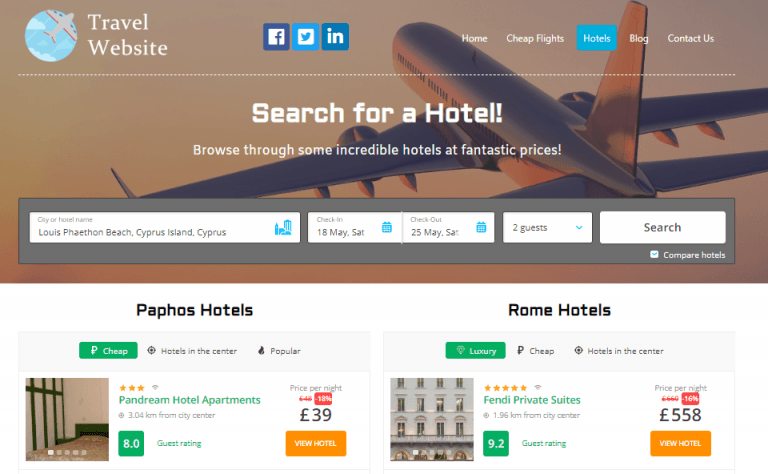 Hotels Page